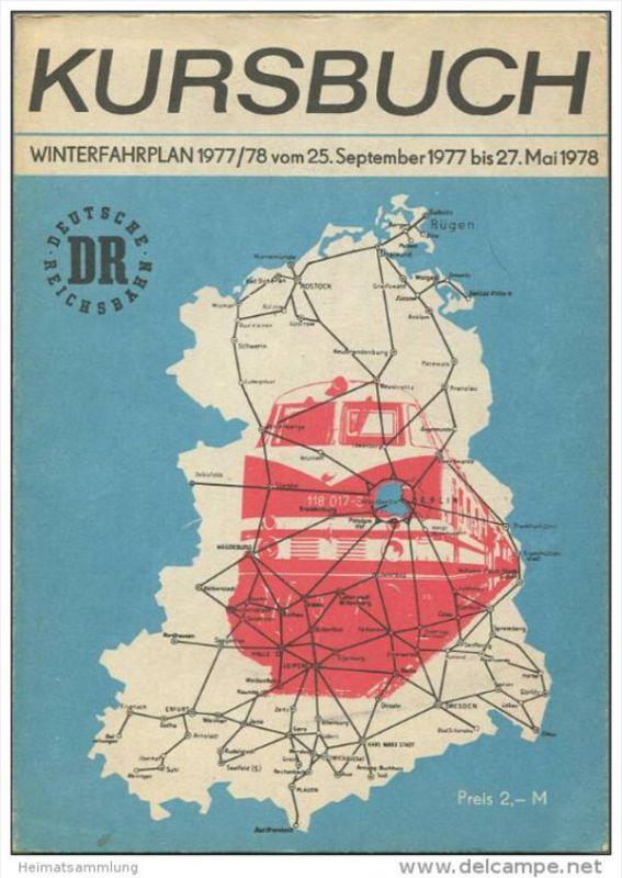Kursbuch der Deutschen Reichsbahn - Winterfahrplan 1977/78 mit Übersichtskarte und Lesezeichen - Original Ausgabe