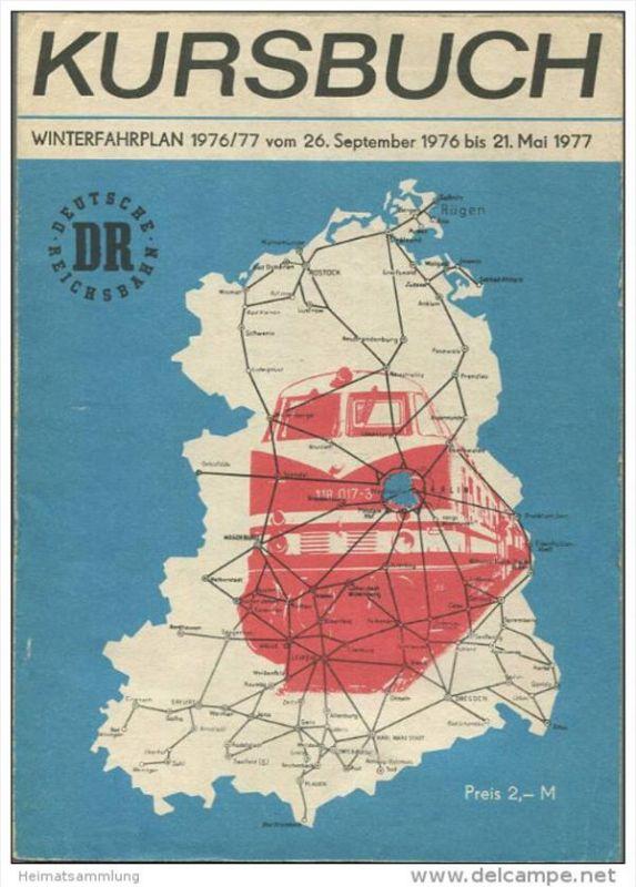 Kursbuch der Deutschen Reichsbahn - Winterfahrplan 1976/77 mit Übersichtskarte und Lesezeichen - Binnenverkehr - Ministe