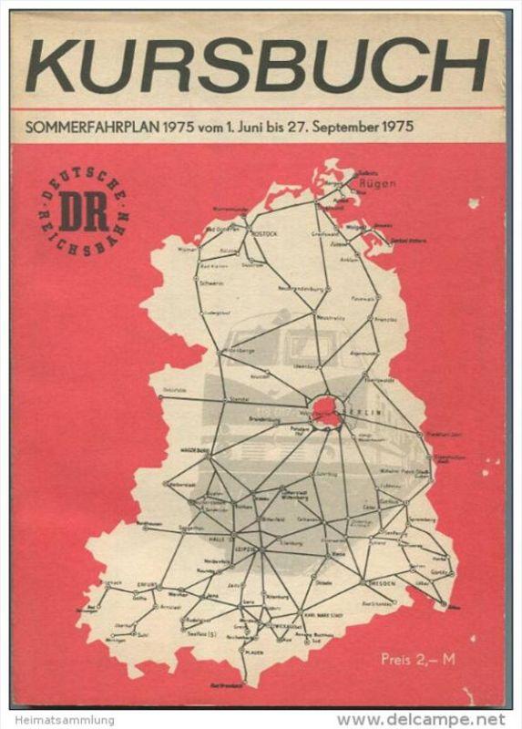 Kursbuch der Deutschen Reichsbahn - Sommerfahrplan 1975 mit Übersichtskarte und Lesezeichen - Binnenverkehr - Ministeriu