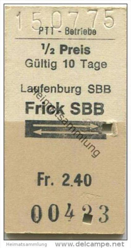 Schweiz - Schweizerische PTT-Betriebe - Laufenburg SBB Frick SBB und zurück - 1/2 Preis - 1975 Fahrkarte