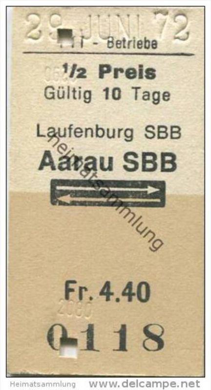 Schweiz - Schweizerische PTT-Betriebe - Laufenburg SBB Aarau SBB und zurück - 1/2 Preis - 1972 Fahrkarte