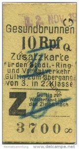Deutschland - Berlin - Gesundbrunnen 10Rpf. - Zusatzfahrkarte für den Stadt- Ring und Vorortverkehr - Gültig zum Übergan