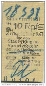 Deutschland - Berlin - Siemensstadt 1931 10Rpf. - Zusatzfahrkarte für den Stadt- Ring und Vorortverkehr - Gültig zum Übe
