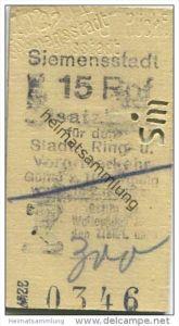 Deutschland - Berlin - Siemensstadt 15Rpf. - Zusatzfahrkarte für den Stadt- Ring und Vorortverkehr - Gültig zum Übergang
