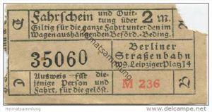 Deutschland - Berlin - Berliner Strassenbahn W. 9 Leipziger Platz 14 - Fahrschein und Quittung 2M. 20er Jahre