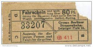 Deutschland - Berlin - Grosse Berliner Strassenbahn W. 9 Leipziger Platz 14 - Fahrschein und Quittung 80Pf. 20er Jahre