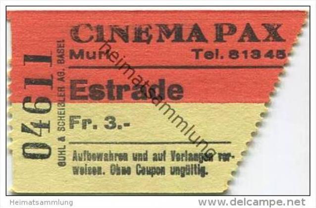 Schweiz - Muri - Cinema Pax - Kinokarte 1962