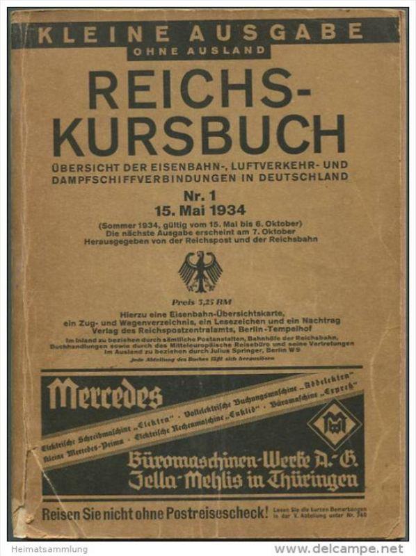 Deutschland - Reichs-Kursbuch 1934 - Kleine Ausgabe ohne Ausland - Übersicht der Eisenbahn- Luftverkehr- und Dampfschiff