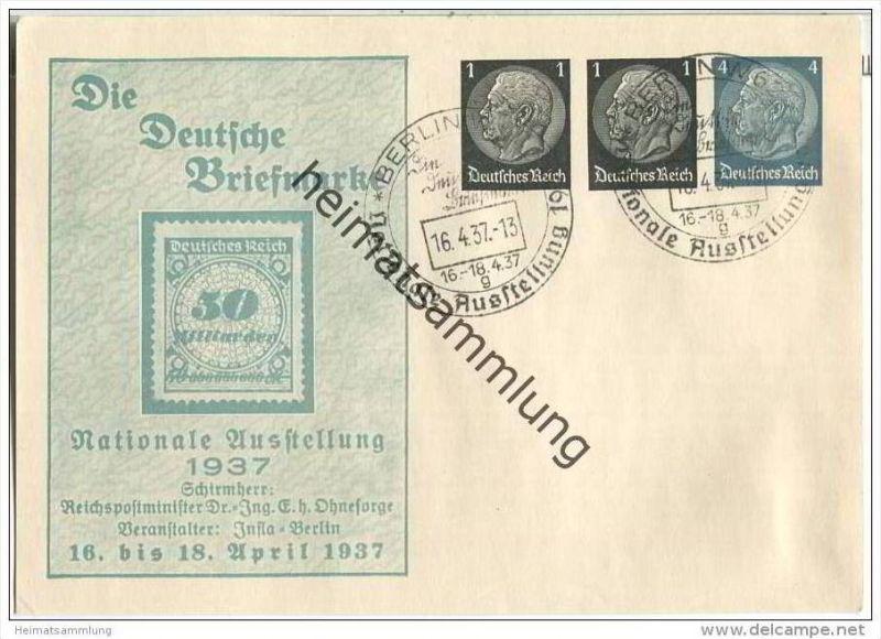 Postkarte - Privatganzsache Die Deutsche Briefmarke - Nationale Ausstellung 1937 - Sonderstempel