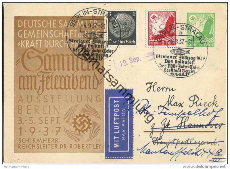 Postkarte - Sammeln am Feierabend KdF - Ausstellung Berlin 1937 - Sammlerbeleg