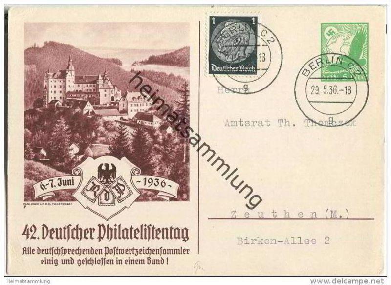 Postkarte - Privatganzsache - 42. Deutscher Philatelistentag 6.-7. Juni 1936 - gelaufen am 29. Mai 1936!