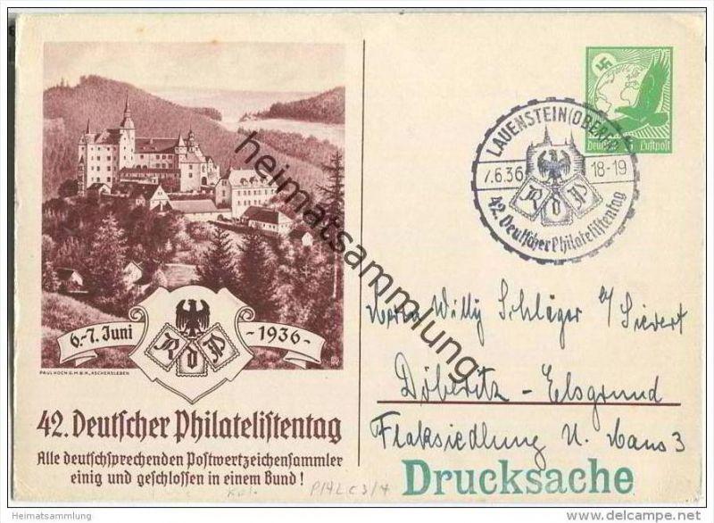 Postkarte - Privatganzsache - 42. Deutscher Philatelistentag 6.-7. Juni 1936 - Sonderstempel - Drucksache