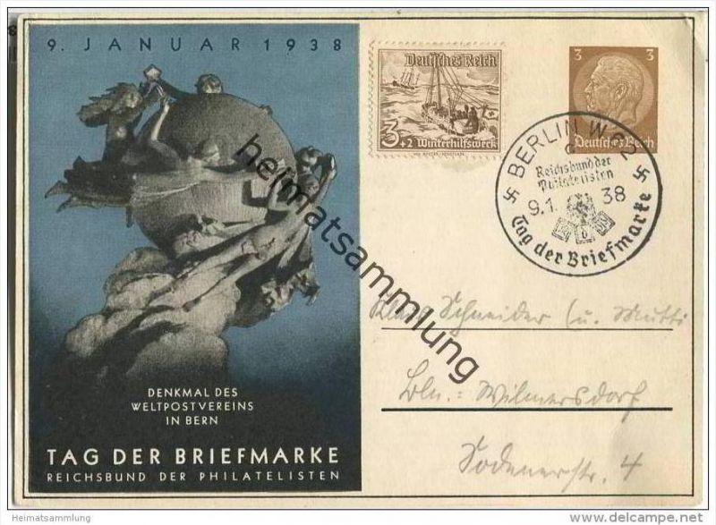 Postkarte - Privatganzsache - Tag der Briefmarke 1938 - Sonderstempel