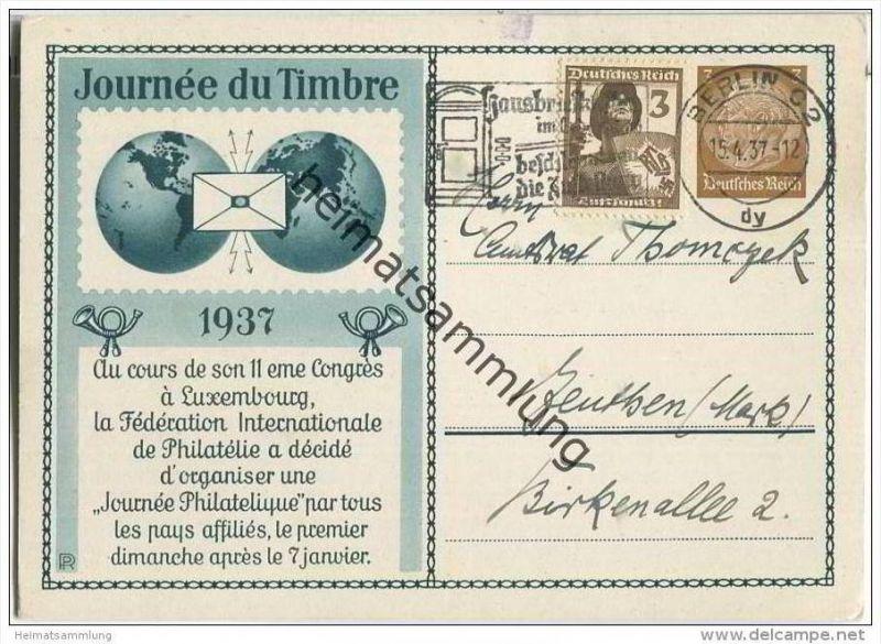 Postkarte - Privatganzsache - Journee du Timbre 1937  - Anlasstext auf Französisch mit 'runder 3'