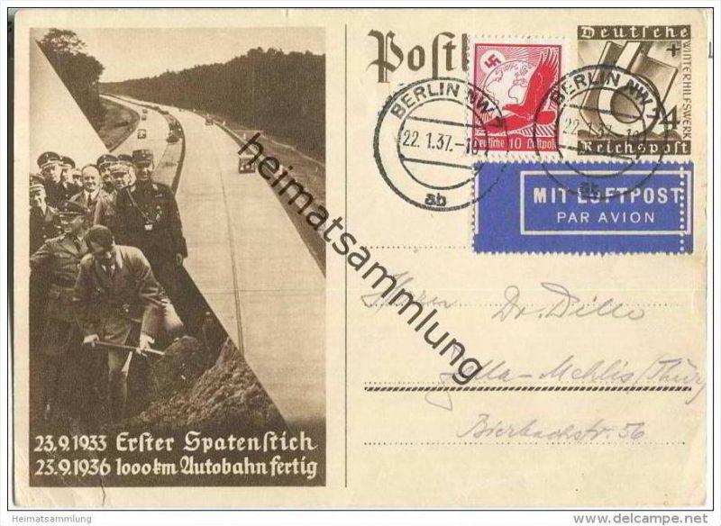 Postkarte - Erster Spatenstich - gelaufen mit Luftpost 1937 - Sammlerbeleg