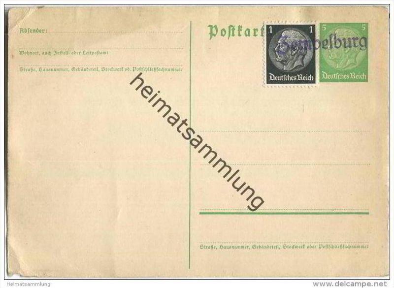 Postkarte - Deutsches Reich mit einzeiligem Stempel Zempelburg