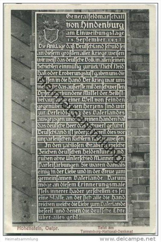 Hohenstein - Olsztynek - Tannenberg - Tafel am National-Denkmal