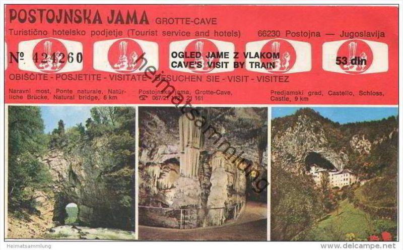 Slovenien - Postojna - Postojnska Jama - Grotte Cave - Ticket Eintrittskarte
