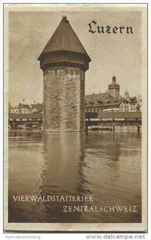 Luzern 30er Jahre - Faltblatt mit 8 Abbildungen - grosse Reliefkarte vom Vierwaldstättersee (Orell-Füssli-Zürich) - Foto