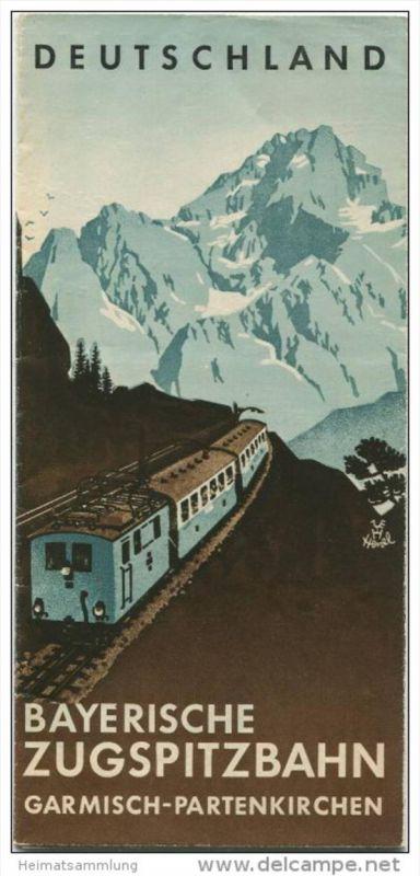 Bayrische Zugspitzbahn - 30er Jahre - Faltblatt mit 14 Abbildungen - Titelbild signiert Henel - 2 Reliefkarten