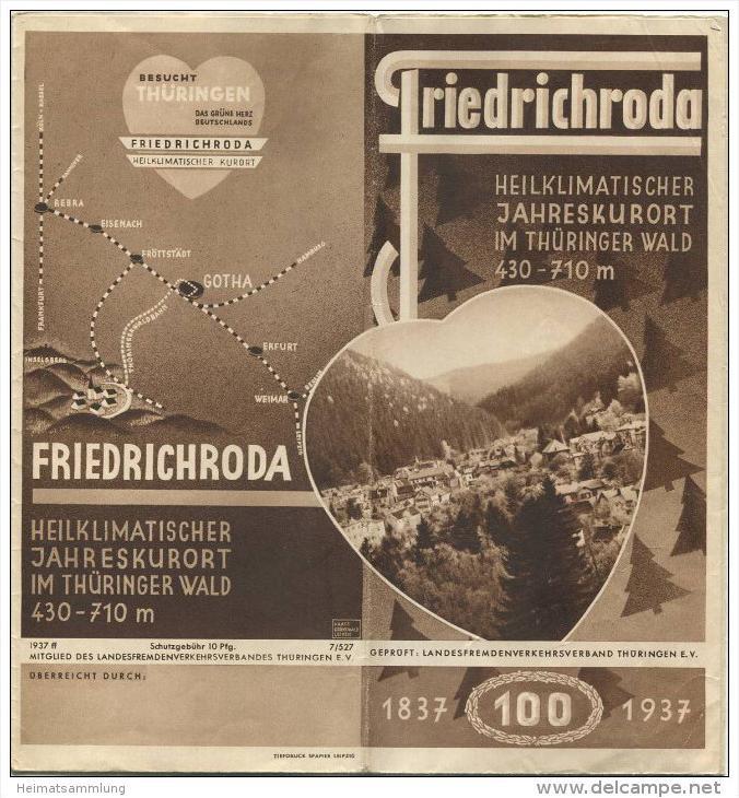 Friedrichroda 1937 - Faltblatt 60cm x 42cm - Reliefkarte signiert Rudolf Haase Leipzig - Wissenswertes für unsere Kurgäs