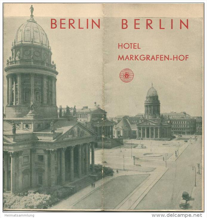 Berlin 30er Jahre - Hotel Markgrafen-Hof - 8 Seiten mit 14 Abbildungen 4 davon Innenansichten - Stadtplan der Innenstadt