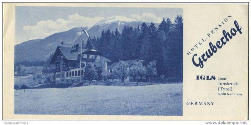 Igls Tirol 40er Jahre - Hotel Pension Gruberhof - Faltblatt mit 9 Abbildungen