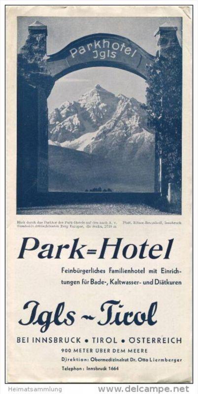 Igls Tirol 40er Jahre - Park-Hotel - Faltblatt mit 12 Abbildungen