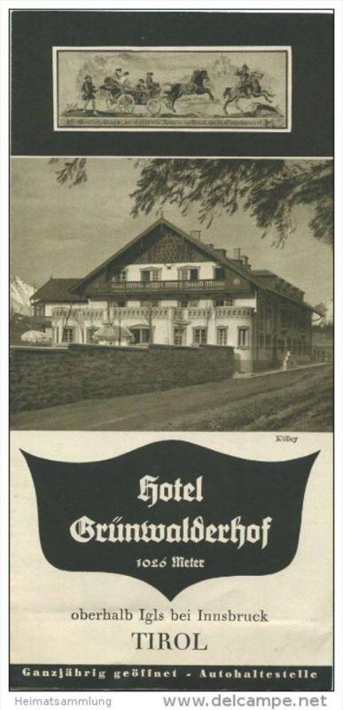 Hotel Grünwalderhof oberhalb Igls bei Innsbruck in Tirol 40er Jahre - Faltblatt mit 8 Abbildungen
