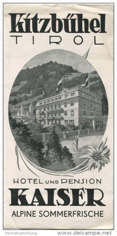Kitzbühel - Hotel und Pension Kaiser 40er Jahre - Faltblatt mit 6 Abbildungen