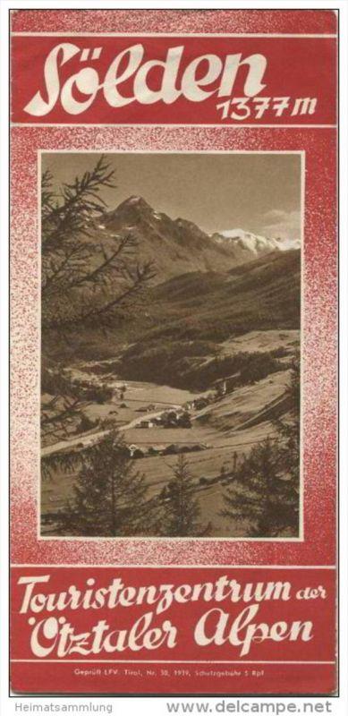 Sölden 1939 - Faltblatt mit 13 Abbildungen - Unterkunftsverzeichnis