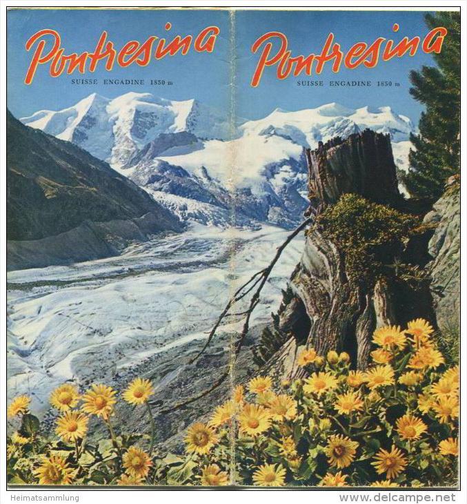 Pontresina 50er Jahre - Faltblatt mit 15 Abbildungen - in französischer Sprache - grosse Reliefkarte vom Engadin mit Wan