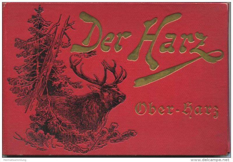 Der Harz um 1890 - Leineneinband mit Goldprägung - Leporello mit ca. 35 Lithografien - u.a. Wernigerode Ilsenstein Hotel