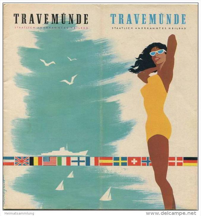 Travemünde 1962 - 24 Seiten mit mit über 50 Abbildungen - Titelseite Jungquist - Skizzen Krellenberg - beiliegend Stadtp