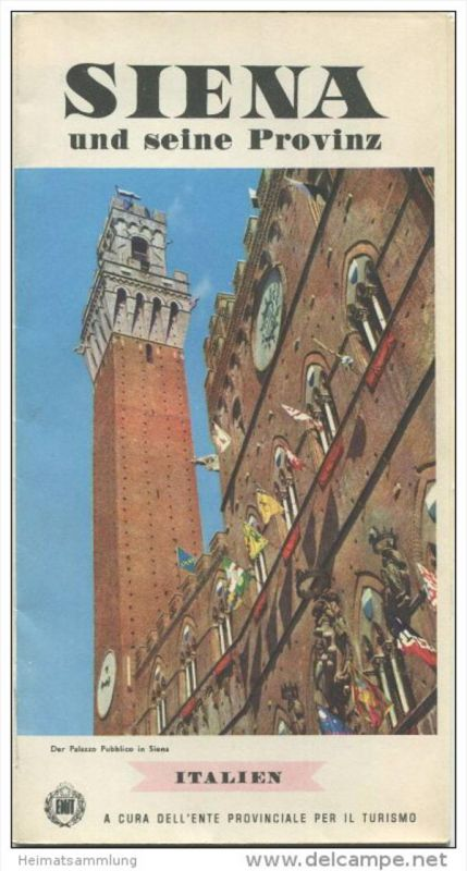 Siena 1961 - Faltblatt mit 21 Abbildungen - Reliefkarte