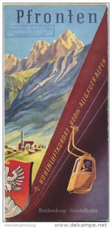 Pfronten 1955 - Faltblatt mit 6 Abbildungen - Titelbild Senger Oberjoch - Reliefkarte von Pfronten und Umgebung - beilie