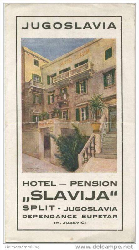 Kroatien - Split Hotel Pension Slavija Besitzer M. Jozevic - Faltblatt mit 6 Abbildungen