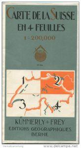 Karte der Schweiz in 4 Blättern - 1:200'000 - Blatt 2 Nord-Ost-Schweiz - Verlag Kümmerly + Frey Bern