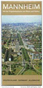 Mannheim - Faltkarte mit 7 Abbildungen - schematischer Zentrums-Stadtplan - rückseitig Reliefkarte von Nordbaden