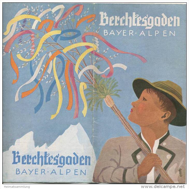 Berchtesgaden 1955 - Faltblatt mit 12 Abbildungen - beiliegend Unterkunftsverzeichnis