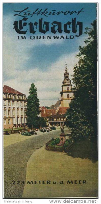 Erbach im Odenwald 1965 - Faltblatt mit 15 Abbildungen - beiliegend Unterkunfts-Verzeichnis