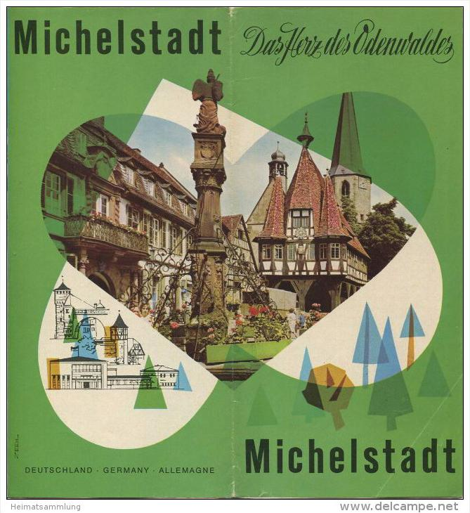 Michelstadt 60er Jahre - Faltblatt mit 6 Abbildungen - Grafik H. Zeeh - beiliegend Hotel und Gaststättenverzeichnis