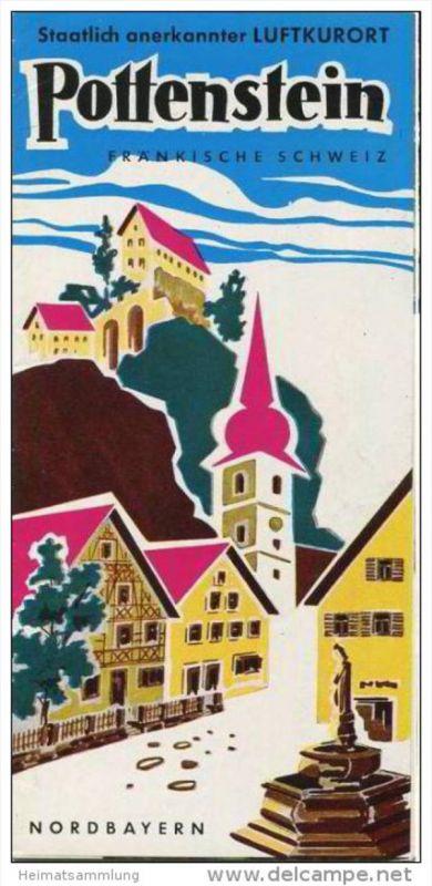 Pottenstein 1972 - Faltblatt mit 15 Abbildungen - beiliegend Unterkunfts-Verzeichnis