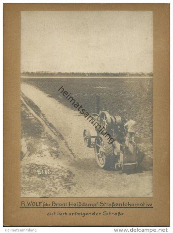 R. Wolf 'sche Patent Heissdampf Strassenlokomotive auf stark ansteigender Strasse - R. Wolf A.G. Magdeburg-Buckau - Foto