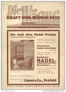 Die Wärme - Kraft und Wärme 1932 - Sonderheft zur Leipziger Technischen Messe - Zeitschrift für Dampfkessel und Maschine