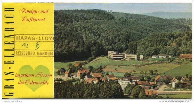 Gras-Ellenbach 1962 - Faltblatt mit Abbildungen - beiliegend Zimmernachweis 1965