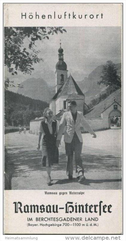Ramsau-Hintersee 1953 - Faltblatt mit 11 Abbildungen - Unterkunfts-Verzeichnis 1953/54 Lageplan