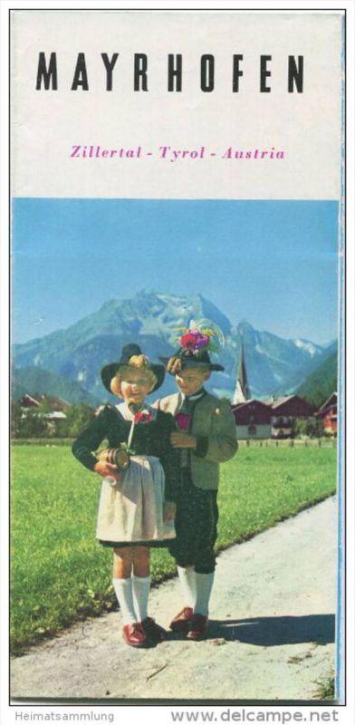 Mayrhofen 60er Jahre - Faltblatt mit 17 Abbildungen - Hotel- und Gaststätten-Verzeichnis - Tiroler Landes-Reisebüro Orts