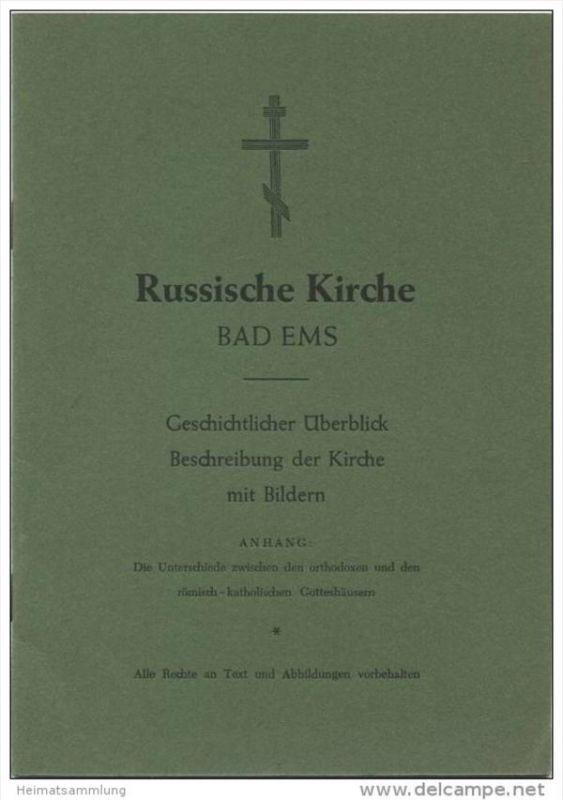 Russische Kirche Bad Ems - 12 Seiten mit 4 Abbildungen - Verlag Heil Druck Bad Ems