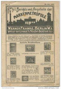 Phil. Berichte und Angebote der Markenmetropole Werner Franke Berlin W8 - Unter den Linden 16 Seiten Okt. 1924